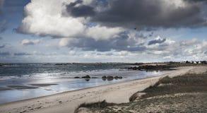 Χαμηλή παλίρροια με την ακτή αμμόλοφων και πετρών στη Βρετάνη, Γαλλία Στοκ Εικόνες