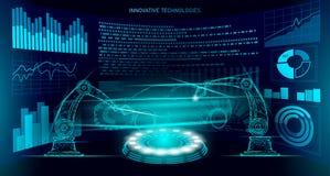 Χαμηλή πολυ ρομποτική τεχνολογία αυτοματοποίησης αυτοκινήτων συνελεύσεων βραχιόνων Βιομηχανικός οξυγονοκολλητής μηχανών ρομπότ επ διανυσματική απεικόνιση