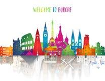 Χαμηλή πολυ τέχνη ορόσημων της Ευρώπης διάσημη απεικονίστε στο τρισδιάστατο ορόσημο της Ευρώπης εγγράφου Σφαιρικό ταξίδι και ταξί ελεύθερη απεικόνιση δικαιώματος