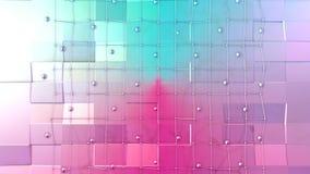 Χαμηλή πολυ τρισδιάστατη επιφάνεια με το πλέγμα ή το πλέγμα πετάγματος και κινούμενες σφαίρες ως ενδιαφέρον περιβάλλον Μαλακός γε διανυσματική απεικόνιση