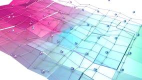 Χαμηλή πολυ τρισδιάστατη επιφάνεια με το πλέγμα ή το πλέγμα πετάγματος και κινούμενες σφαίρες ως περιβάλλον υπολογιστών Μαλακός γ διανυσματική απεικόνιση