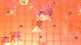 Χαμηλή πολυ τρισδιάστατη επιφάνεια με το πλέγμα ή το πλέγμα πετάγματος και μαύρες σφαίρες ως περιβάλλον μόδας Μαλακός γεωμετρικός απεικόνιση αποθεμάτων
