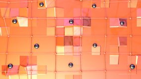 Χαμηλή πολυ τρισδιάστατη επιφάνεια με το πλέγμα ή το πλέγμα πετάγματος και μαύρες σφαίρες ως fractal περιβάλλον Μαλακός γεωμετρικ απεικόνιση αποθεμάτων