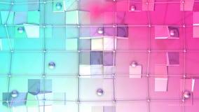 Χαμηλή πολυ τρισδιάστατη επιφάνεια με το πλέγμα πετάγματος ή το πλέγμα και τις κινούμενες σφαίρες όπως περιβάλλον Μαλακός γεωμετρ διανυσματική απεικόνιση
