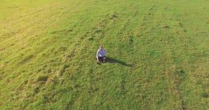 Χαμηλή τροχιακή πτήση γύρω από το άτομο στην πράσινη χλόη με το μαξιλάρι σημειωματάριων στον κίτρινο αγροτικό τομέα απόθεμα βίντεο