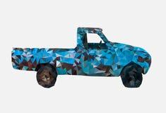 Χαμηλός πολυ του παλαιού σκουριασμένου μπλε αυτοκινήτου, γεωμετρικό ύφος, κινούμενα σχέδια, αφηρημένη διανυσματική απεικόνιση διανυσματική απεικόνιση