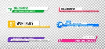 Χαμηλότερο τρίτο πρότυπο Σύνολο εμβλημάτων και φραγμών TV για τις ειδήσεις και τα αθλητικά κανάλια, τη ροή και τη ραδιοφωνική ανα διανυσματική απεικόνιση