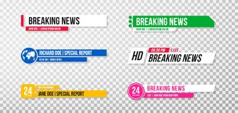Χαμηλότερο τρίτο πρότυπο Σύνολο εμβλημάτων και φραγμών TV για τις ειδήσεις και τα αθλητικά κανάλια, τη ροή και τη ραδιοφωνική ανα ελεύθερη απεικόνιση δικαιώματος