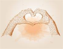 Χαμηλό πολυ αφηρημένο χέρι - κατέστησε μια μορφή καρδιών polygonal Στοκ φωτογραφίες με δικαίωμα ελεύθερης χρήσης