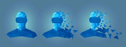 Χαμηλό πολυ σχέδιο προστατευτικών διόπτρων εικονικής πραγματικότητας Στοκ Φωτογραφίες