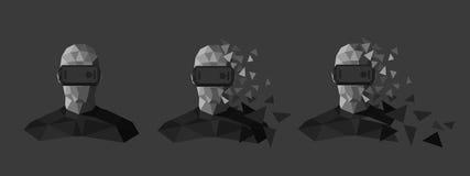 Χαμηλό πολυ σχέδιο προστατευτικών διόπτρων εικονικής πραγματικότητας Στοκ Εικόνα