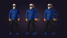 Χαμηλό πολυ σχέδιο προστατευτικών διόπτρων εικονικής πραγματικότητας Στοκ Φωτογραφία
