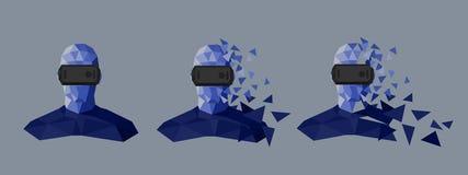 Χαμηλό πολυ σχέδιο προστατευτικών διόπτρων εικονικής πραγματικότητας Στοκ Εικόνες
