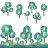 Χαμηλά πολυ δέντρα με το πράσινο τοπίο πολυγώνων Στοκ Φωτογραφίες