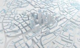 Χαμηλές πολυ απόψεις πόλεων άνωθεν τρισδιάστατη απόδοση Στοκ εικόνες με δικαίωμα ελεύθερης χρήσης