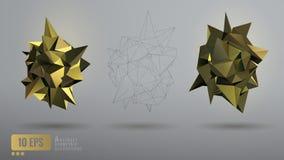 Χαμηλή πολυ αφηρημένη χρυσή γεωμετρική μορφή Στοκ εικόνες με δικαίωμα ελεύθερης χρήσης