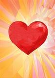 Χαμηλή πολυ κόκκινη καρδιά στο φανταστικό υπόβαθρο Στοκ Φωτογραφία