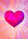 Χαμηλή πολυ ρόδινη καρδιά στο φανταστικό υπόβαθρο Στοκ Φωτογραφίες