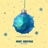 Χαμηλή πολυ σφαίρα Χριστουγέννων ύφους τέχνης διανυσματική απεικόνιση
