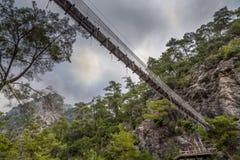 Χαμηλότερη άποψη της γέφυρας αναστολής σχοινιών Στοκ Φωτογραφία