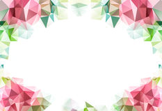 Χαμηλό λουλούδι υποβάθρου σχεδίων τριγώνων πολυγώνων, πέταλα και κενή κάρτα για το κείμενό σας στο λευκό στοκ εικόνα