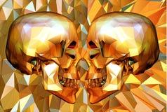 Χαμηλό πολυ κρανίο δύο που αντιμετωπίζει στο polygonal BG Στοκ Εικόνα