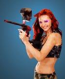 Χαμηλό πολυ πορτρέτο ενός κοριτσιού Paintball Στοκ φωτογραφίες με δικαίωμα ελεύθερης χρήσης
