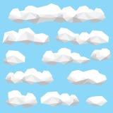 Χαμηλό πολυ σύνολο απεικόνισης σύννεφων Στοκ εικόνα με δικαίωμα ελεύθερης χρήσης