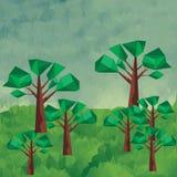 Χαμηλό πολυ τοπίο με τα treeas Στοκ Εικόνες