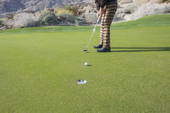 Χαμηλό τμήμα του ανώτερου αρσενικού παίκτη γκολφ που βάζει τη σφαίρα στην τρύπα στο γήπεδο του γκολφ Στοκ Φωτογραφίες