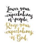 ` Χαμηλώστε τις προσδοκίες ανθρώπων σας Αυξήστε τις προσδοκίες Θεού σας ` Απεικόνιση αποθεμάτων