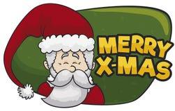 Χαμογελώντας Άγιος Βασίλης σε ένα σημάδι χαιρετισμού για τα Χριστούγεννα, διανυσματική απεικόνιση διανυσματική απεικόνιση