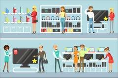 Χαμογελώντας άνθρωποι στο ηλεκτρονικό κατάστημα που ψωνίζουν για τον εσωτερικό εξοπλισμό που επιλέγει με το βοηθητικό σύνολο βοήθ διανυσματική απεικόνιση