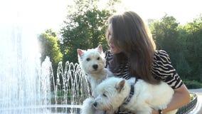 Χαμογελώντας γυναίκα με τα σκυλιά κατοικίδιων ζώων στα χέρια κοντά στην πηγή στο πάρκο Φορητός πυροβολισμός απόθεμα βίντεο