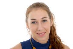 Χαμογελώντας γυναίκα στον μπλε περιστασιακό έξυπνο ιματισμό, που απομονώνεται Στοκ Εικόνα