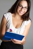 χαμογελώντας γυναίκα χρ&e Στοκ Φωτογραφία