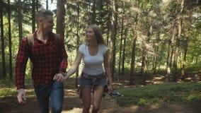 Χαμογελώντας ζεύγος που περπατά στα ξύλα κατά τη διάρκεια της ηλιόλουστης ημέρας απόθεμα βίντεο