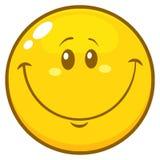 Χαμογελώντας κίτρινος χαρακτήρας προσώπου Emoji κινούμενων σχεδίων με την ευτυχή έκφραση απεικόνιση αποθεμάτων
