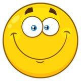 Χαμογελώντας κίτρινος χαρακτήρας προσώπου Emoji κινούμενων σχεδίων με την ευτυχή έκφραση ελεύθερη απεικόνιση δικαιώματος