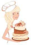 Χαμογελώντας κορίτσι με το κέικ διανυσματική απεικόνιση