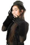 Χαμογελώντας κορίτσι στα γάντια με τα νύχια. Απομονωμένος στοκ φωτογραφία με δικαίωμα ελεύθερης χρήσης