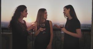 Χαμογελώντας μεγάλες κυρίες στο κόμμα στη σοφίτα ρετηρέ, στο μπαλκόνι με την καταπληκτική άποψη ηλιοβασιλέματος πίνουν το κρασί γ απόθεμα βίντεο