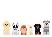 Χαμογελώντας μικρή ομάδα σκυλιών διανυσματική απεικόνιση