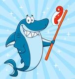 Χαμογελώντας μπλε χαρακτήρας μασκότ κινούμενων σχεδίων καρχαριών που κρατά μια οδοντόβουρτσα με την κόλλα διανυσματική απεικόνιση