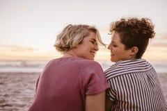 Χαμογελώντας νέο λεσβιακό ζεύγος που απολαμβάνει ένα ρομαντικό ηλιοβασίλεμα παραλιών από κοινού στοκ φωτογραφία με δικαίωμα ελεύθερης χρήσης