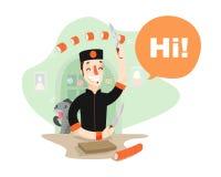 Χαμογελώντας σούσι-κύρια σούσια παραγωγής Αστεία ψάρια αποβουτύρωσης Ελεύθερη απεικόνιση δικαιώματος
