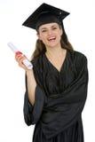 χαμογελώντας σπουδαστής εκμετάλλευσης βαθμολόγησης διπλωμάτων θηλυκός Στοκ φωτογραφία με δικαίωμα ελεύθερης χρήσης