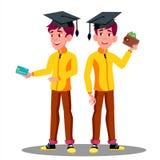 Χαμογελώντας σπουδαστής στη βαθμολόγηση ΚΑΠ με μια πιστωτική κάρτα και ένα διαθέσιμο διάνυσμα χεριών πορτοφολιών απομονωμένη ωθών ελεύθερη απεικόνιση δικαιώματος