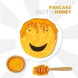 Χαμογελώντας την τηγανίτα με την περούκα που γίνεται από το μέλι Διανυσματική απεικόνιση για Shrovetide ελεύθερη απεικόνιση δικαιώματος