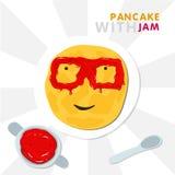 Χαμογελώντας την τηγανίτα με τα γυαλιά που γίνονται από τη μαρμελάδα Διανυσματική απεικόνιση για Shrovetide ελεύθερη απεικόνιση δικαιώματος
